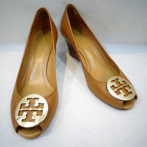 TORY BURCH Tan Sally Wedge Heels Peep Toe Shoes